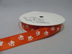 Dark Orange with White Paw Print  Satin or Grosgrain ribbon 2, 20 25 metres Double sided 16mm